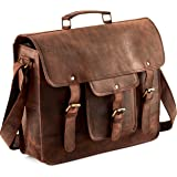Touch of Leather 18 Inch Large Retro Buffalo Hunter Leather Laptop Messenger Bag Office Briefcase College Bag