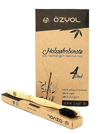 Pack de 4 Bambú Madera Cepillo de dientes en alta calidad para saludable y dientes blancos