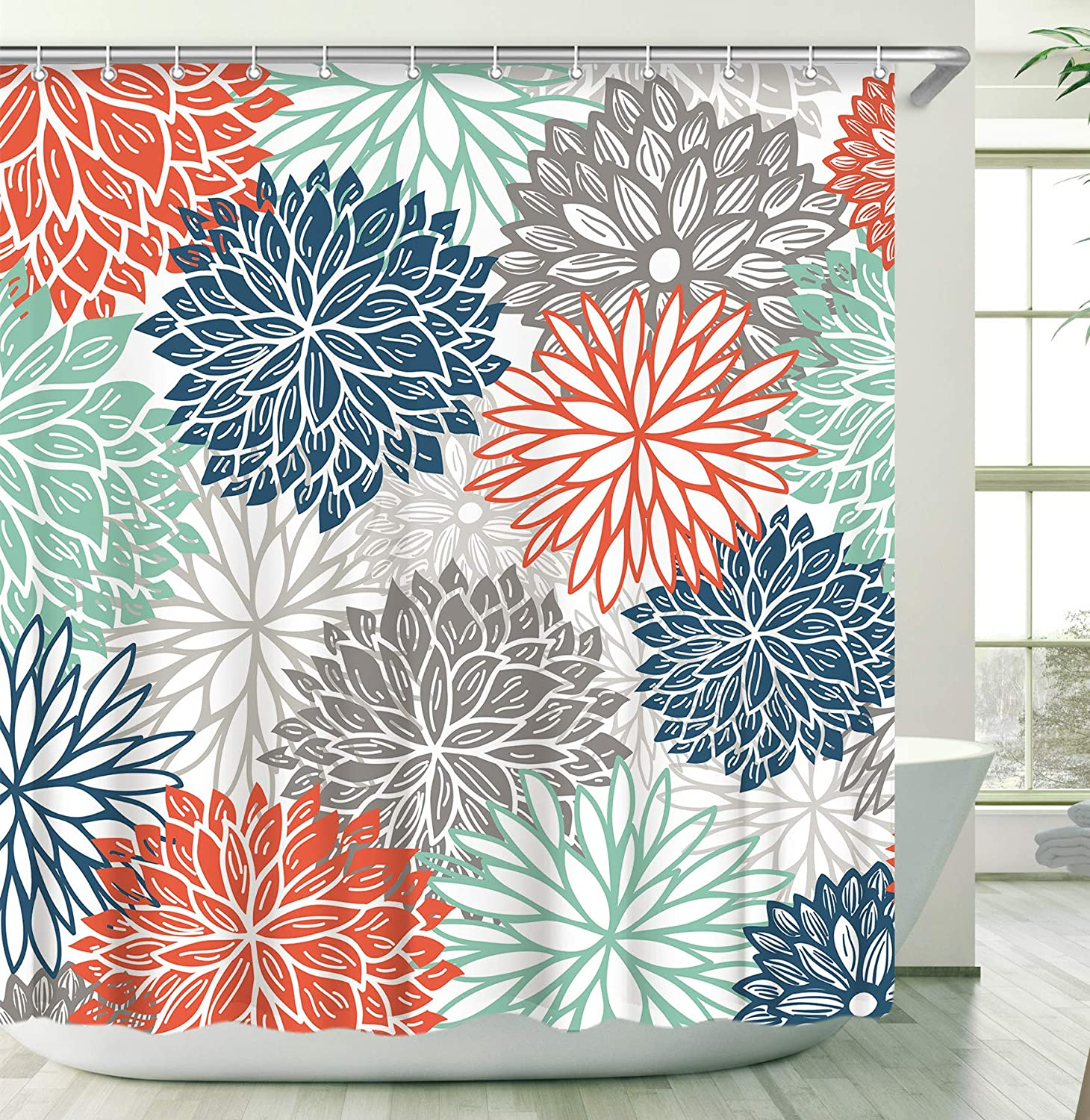 Stacy Fay Floral Shower Curtain, Dahila Shower Curtains Set with 12 Hooks, Waterproof Fabric Bathroom Curtain Flowers, 72 x 72 Inch, Red Blue Green Grey Dahlia Flowers Shower Curtains