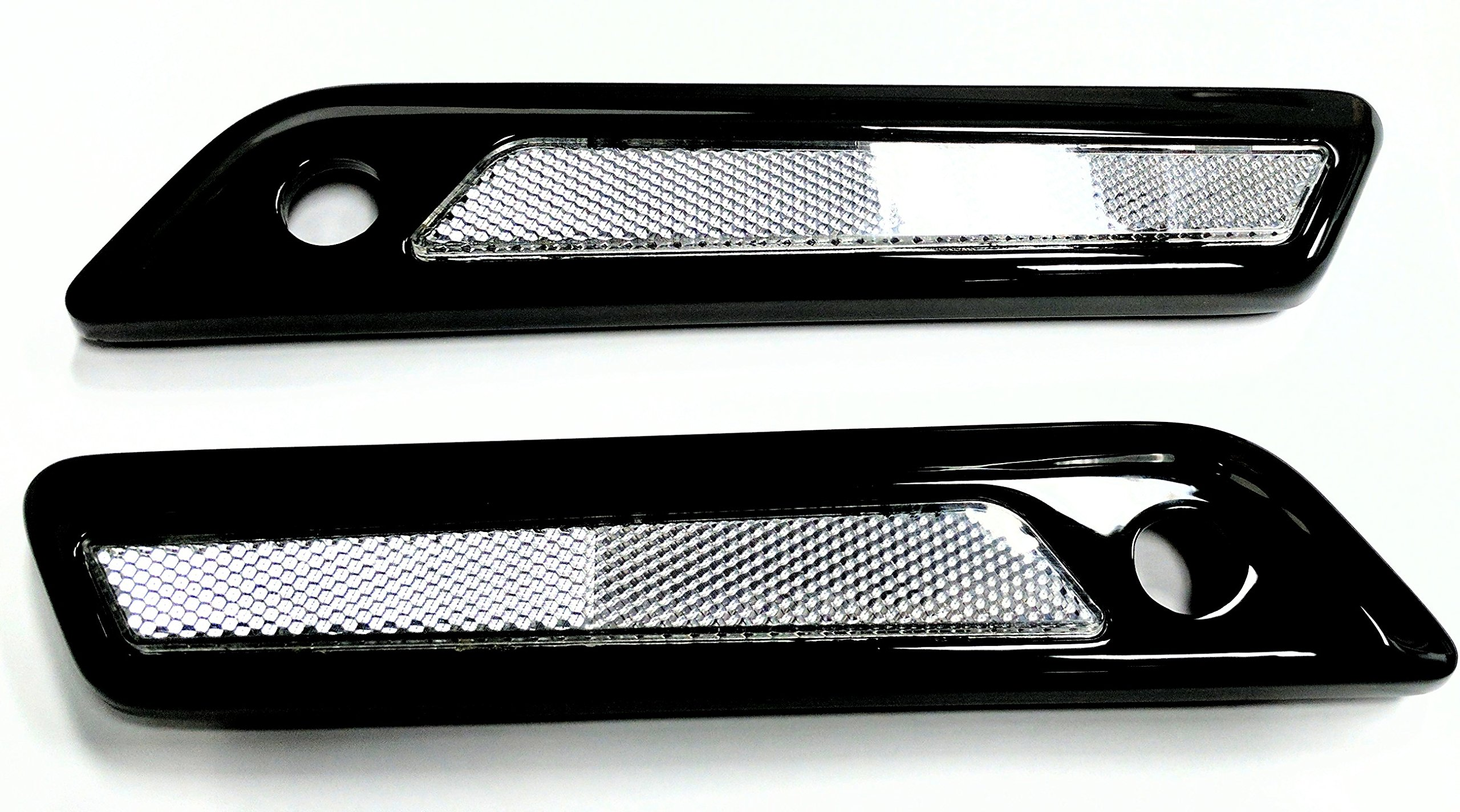 Powder Coated Black Metal Saddlebag Latch Covers with Clear Reflectors for Harley-Davidson ABS Touring Saddlebags 2014-2017 by CaliBikerClub