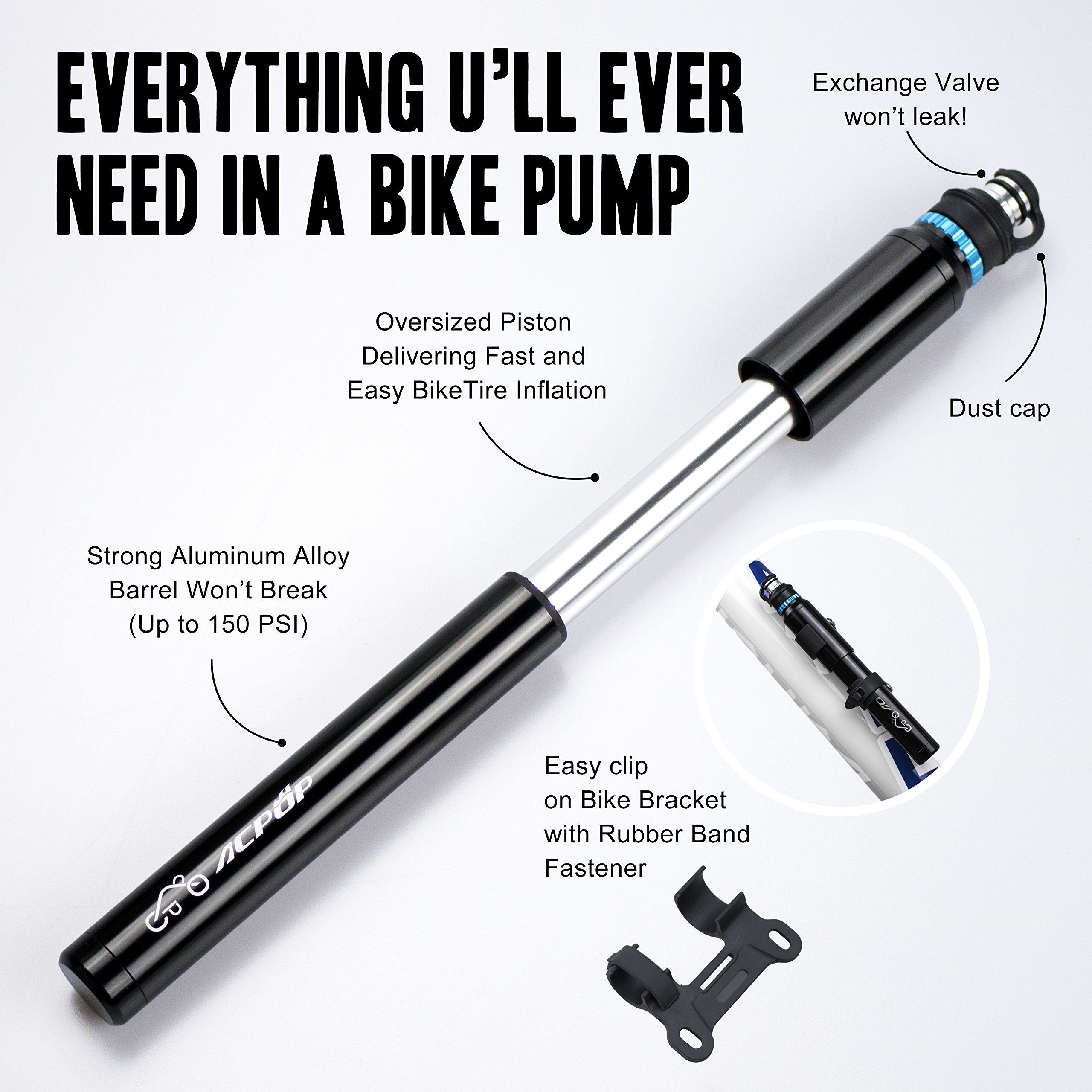 ACPOP Mini Bike Pump & Glueless Puncture Repair Kit- Fits Presta & Schrader- High Pressure 150 PSI - Bicycle Tire Pump for Road, Mountain and BMX Bikes, 6.6 Inches by ACPOP (Image #5)