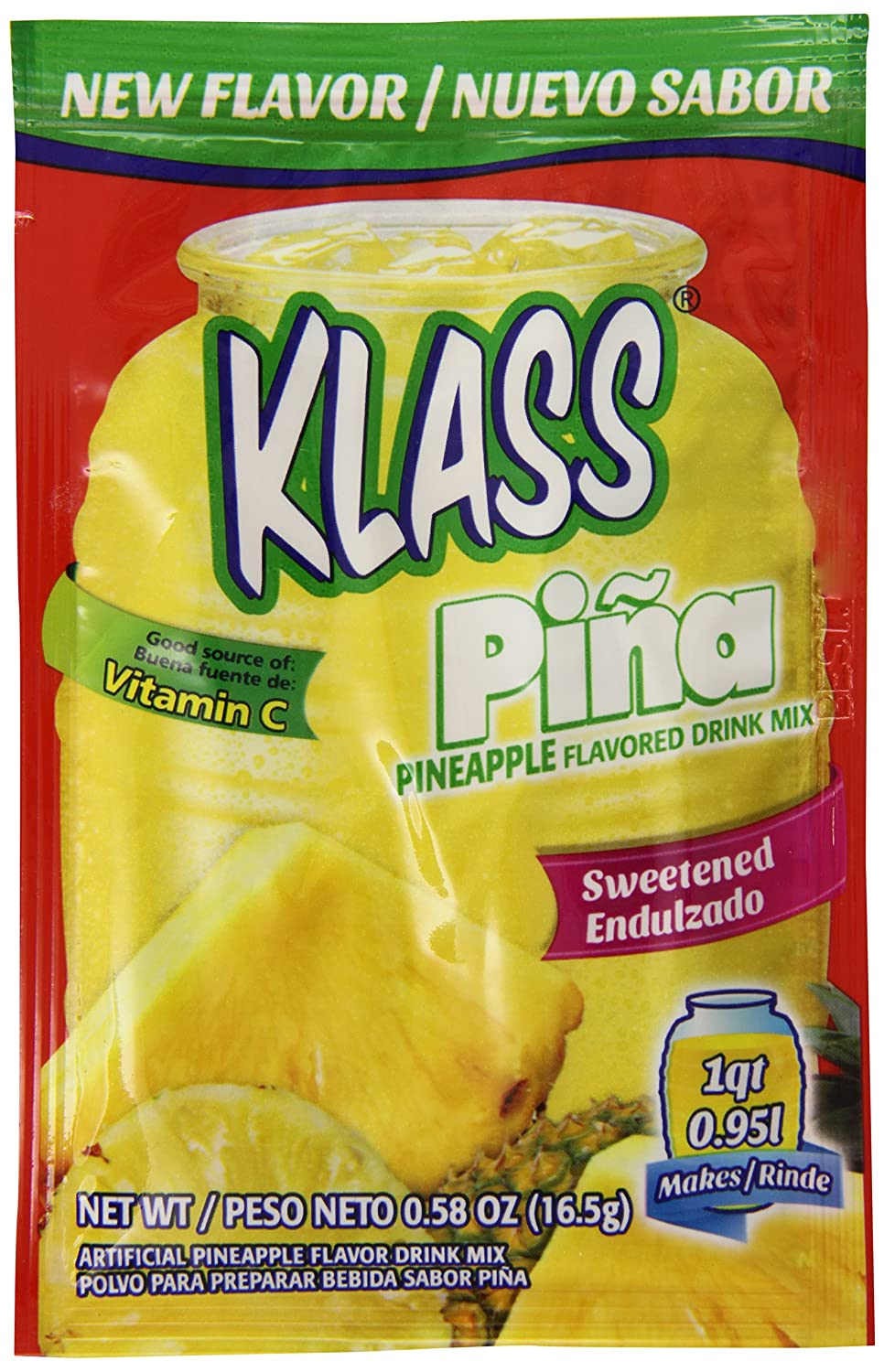 Amazon.com : Klass Sweetened Drink Mix, Pineapple, 0.58 Ounce (Pack of 96) : Grocery & Gourmet Food