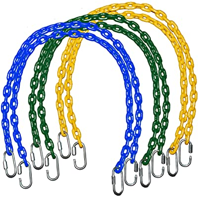 """Playkids 85"""" Fully Coated Chains (Commercial/Residential Grade) + Free Quick Links for Swing Set Playground (6 Chain, Green): Toys & Games"""