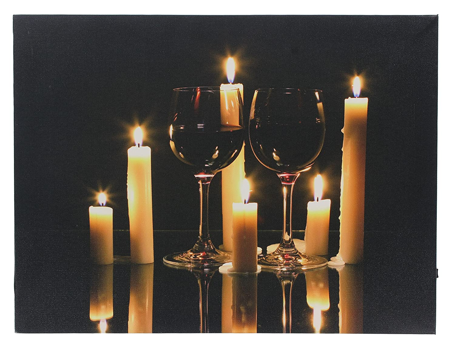Wine Candles Led Lighted Canvas Print Wall Art Decor Home