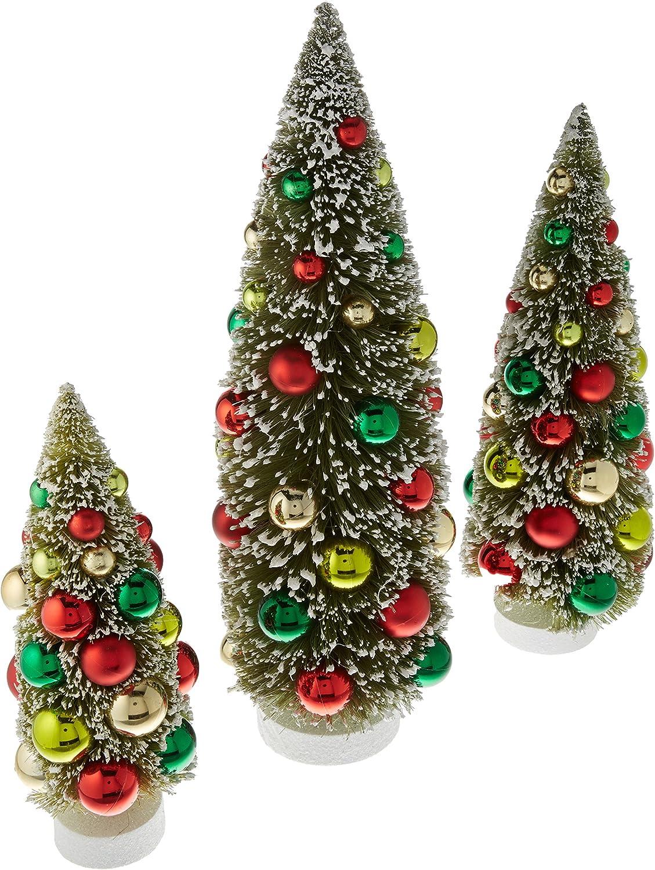 Amazon Com Raz Imports Set Of 3 Decorated Bottle Brush Trees Home Kitchen