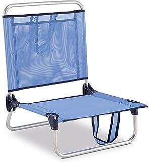 eredu 835txb chaise de plage avec pochette et poigne bleu uni 54 x 50 - Fauteuil Pliant Relax