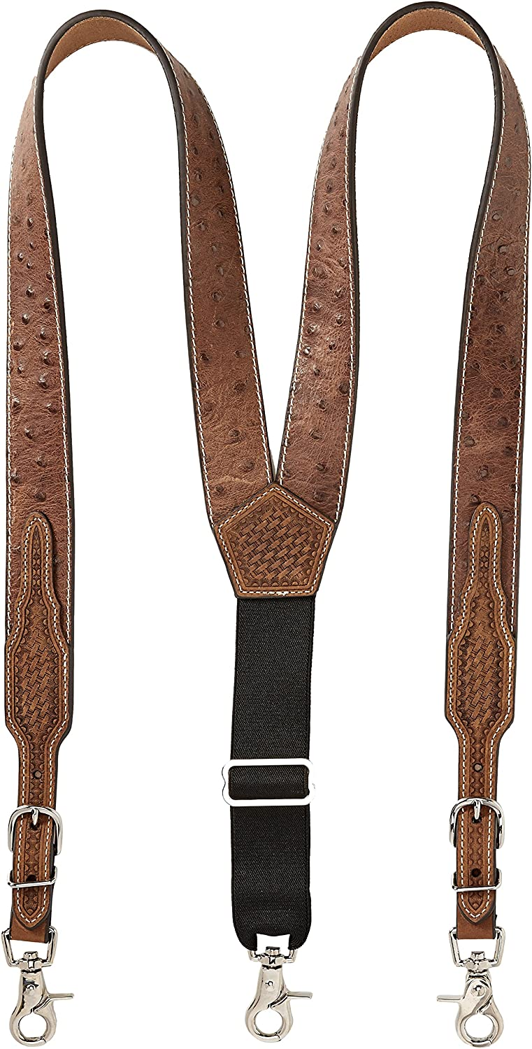 Mens Ostrich Print Leather Suspender Nocona Belt Co