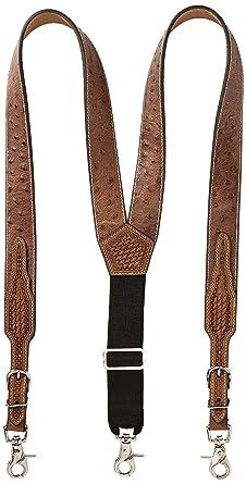 fbf0b7e0e Nocona Belt Co. Men s Ostrich Print Leather Suspender at Amazon Men s  Clothing store