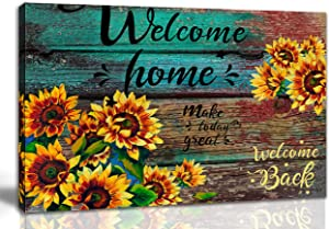 aburaeart Farmhouse Kitchen Decor - Inspirational Flower Wall Decor, Sunflower Bathroom Decor - Office Wall Art Rustic Home Decor Pictures for Bedroom - Yellow Flowers Canvas Wall Art Size 16x24