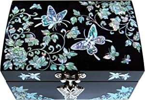 MADDesign Black Jewelry Box Ring Organizer Mother of Pearl Inlay Mirror Lid Butterfly