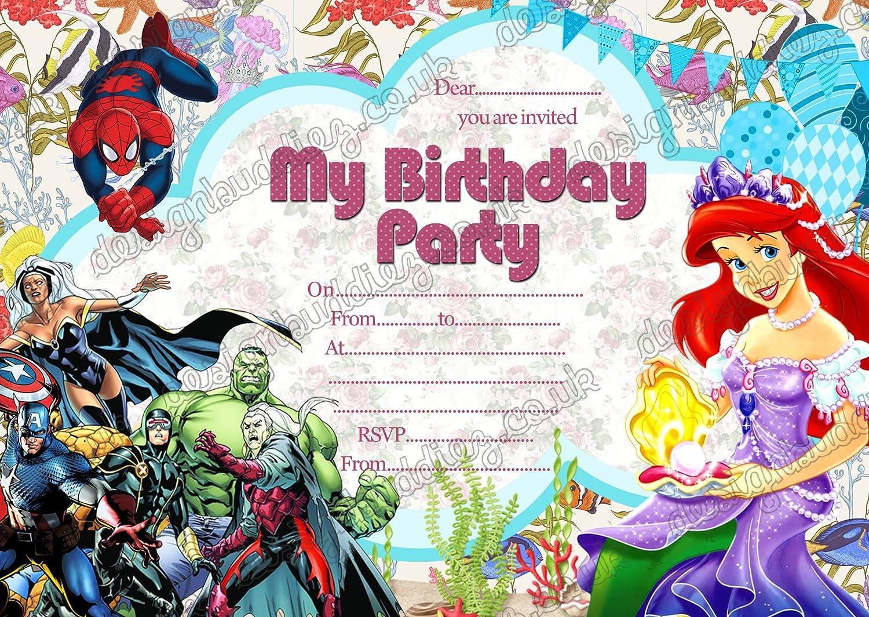Personalised Kids Boys Invitations pack Superhero Birthday Party 10,20,30,40,50