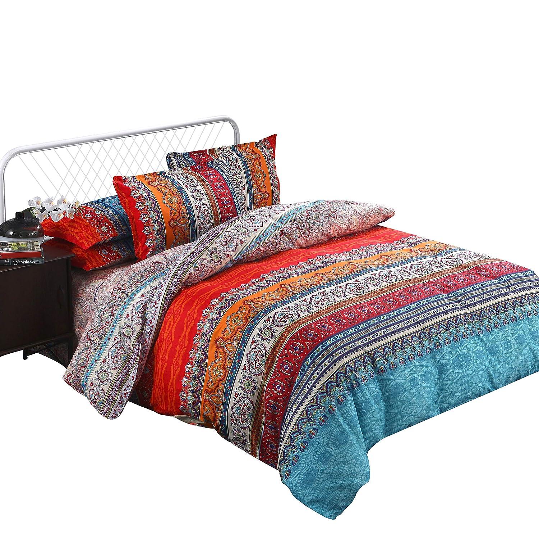 Arachnes Needle Bohemian Duvet Cover Set, Lightweight Microfiber Bedding Set with Pillow Shams-3 Pieces(Queen Size)