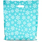 Merchandise Bags 15x18 - Snowflakes Blue - 100 Pack - Glossy Retail Bags - Shopping Bags for Boutique - Boutique Bags - Plast