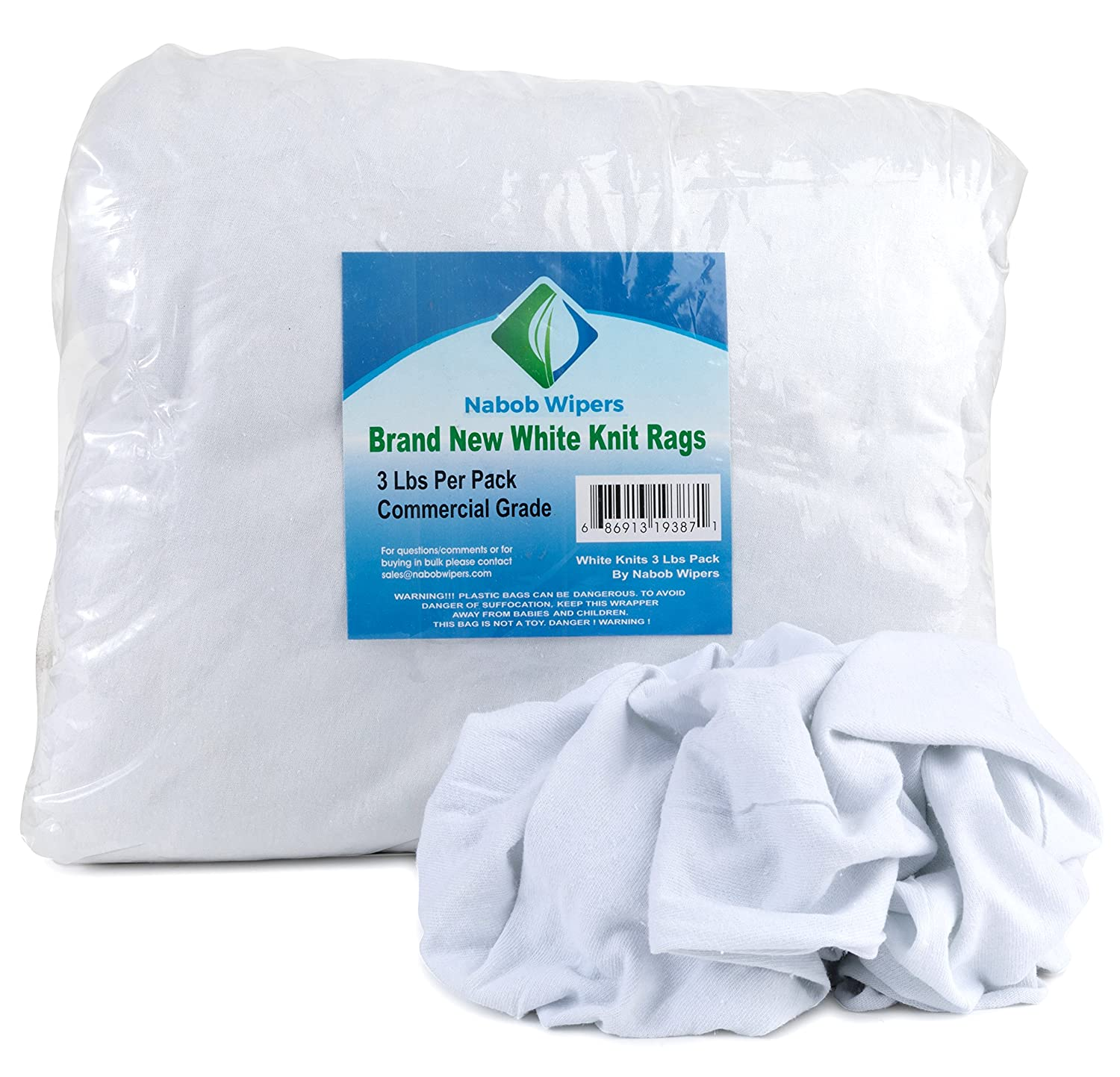 New White T-Shirt Cotton Knit Rags, Premium Quality Cloth Rags, Perfect for General Cleaning, Spills,Home,Staining,Polishing And More By Nabob Wipers (3 Lb Bag)