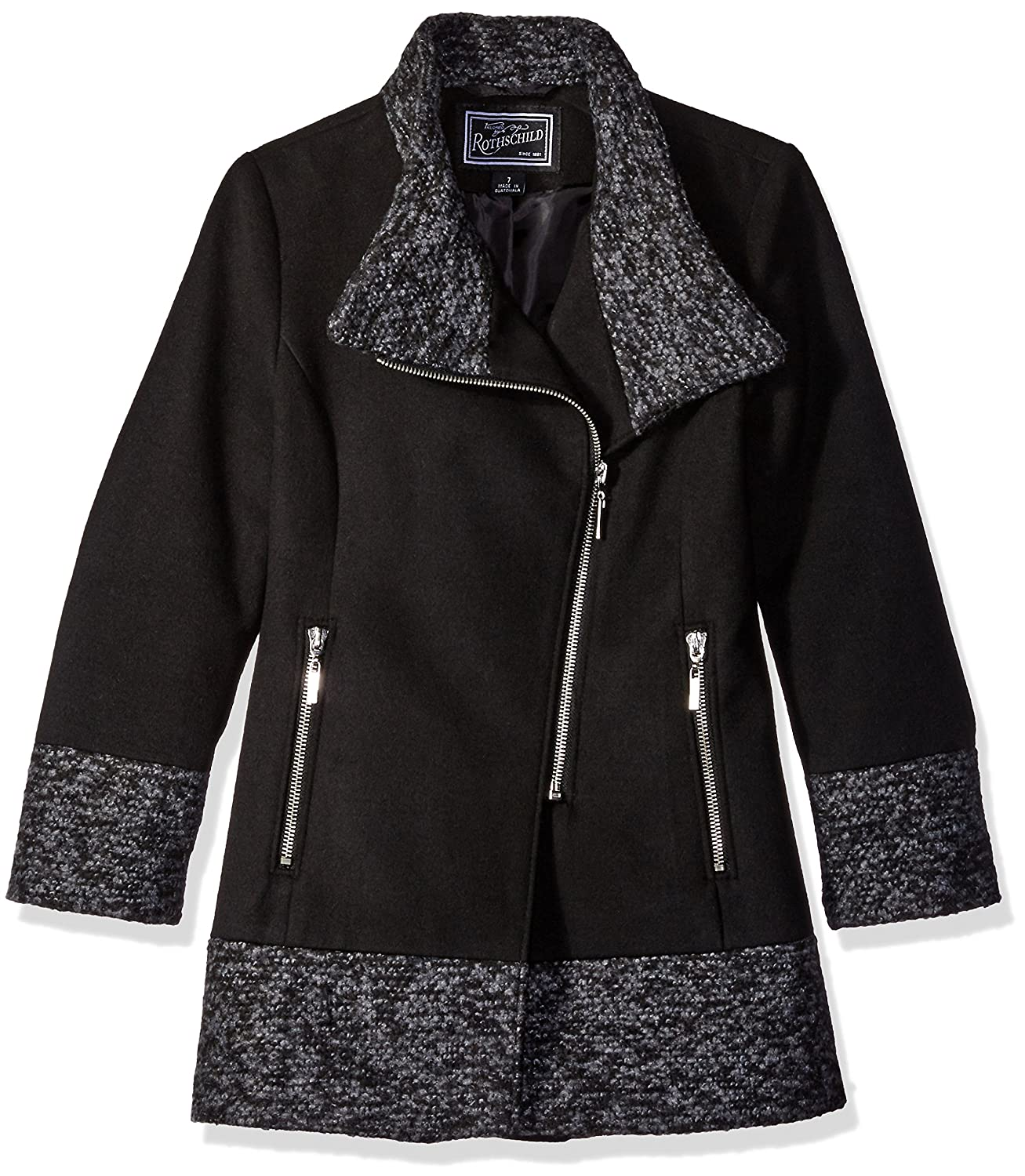 Rothschild Girls' Big Faux Wool Coat with Boucle Trim 6328