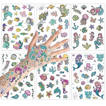 Konsait 150+ piezas Sirena Tatuajes Temporales para Niños ...