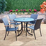 Naples Round Weatherproof Rattan Outdoor Garden Furniture Dining Table & Chair Set