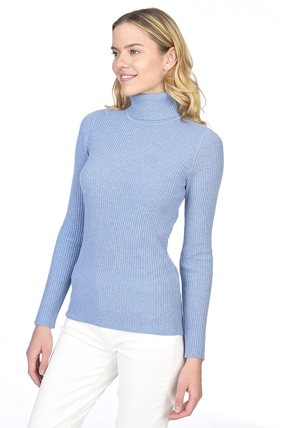 99c93166beab State Cashmere Women s 100% Pure Cashmere Long Sleeve Pullover Ribbed  Turtleneck Sweater at Amazon Women s Clothing store