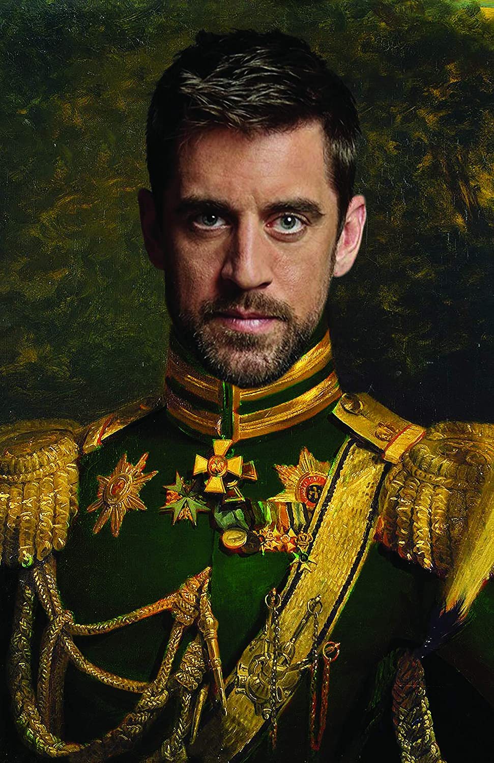 Amazon Com Aaron Rodgers Poster Funny Celebrity Art Faux Oil Painting Print Novelty Pop Culture Artwork Gift Posters Prints