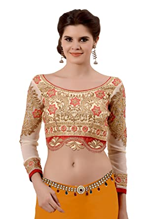 970fbd157d Blouse (Vritikamesmer Cream Art Silk and Faux Georgette Readymade  Embroidered Saree Blouse for Women): Amazon.in: Clothing & Accessories