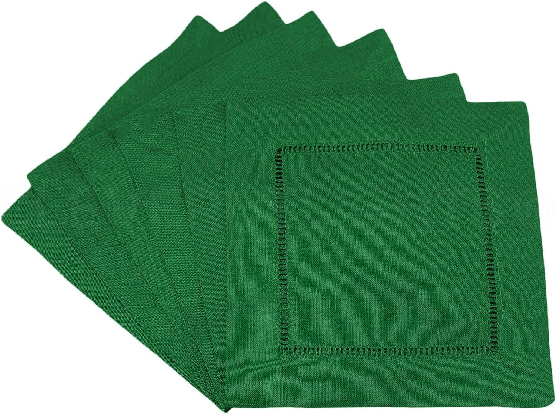6 x 6-45//55 Cotton Linen Blend 12 Pack CleverDelights Green Hemstitch Cocktail Napkins