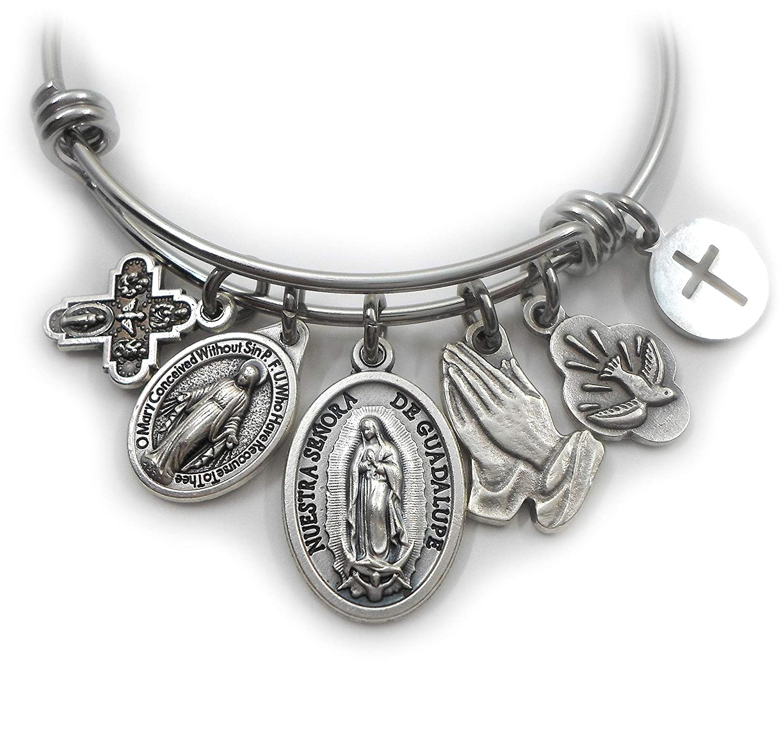 Protection Bracelet Adjustable Bracelet Faith Bracelet Virgen de Guadalupe Saint Benedict Charm Gold Plated18kAdjusable affordable gift