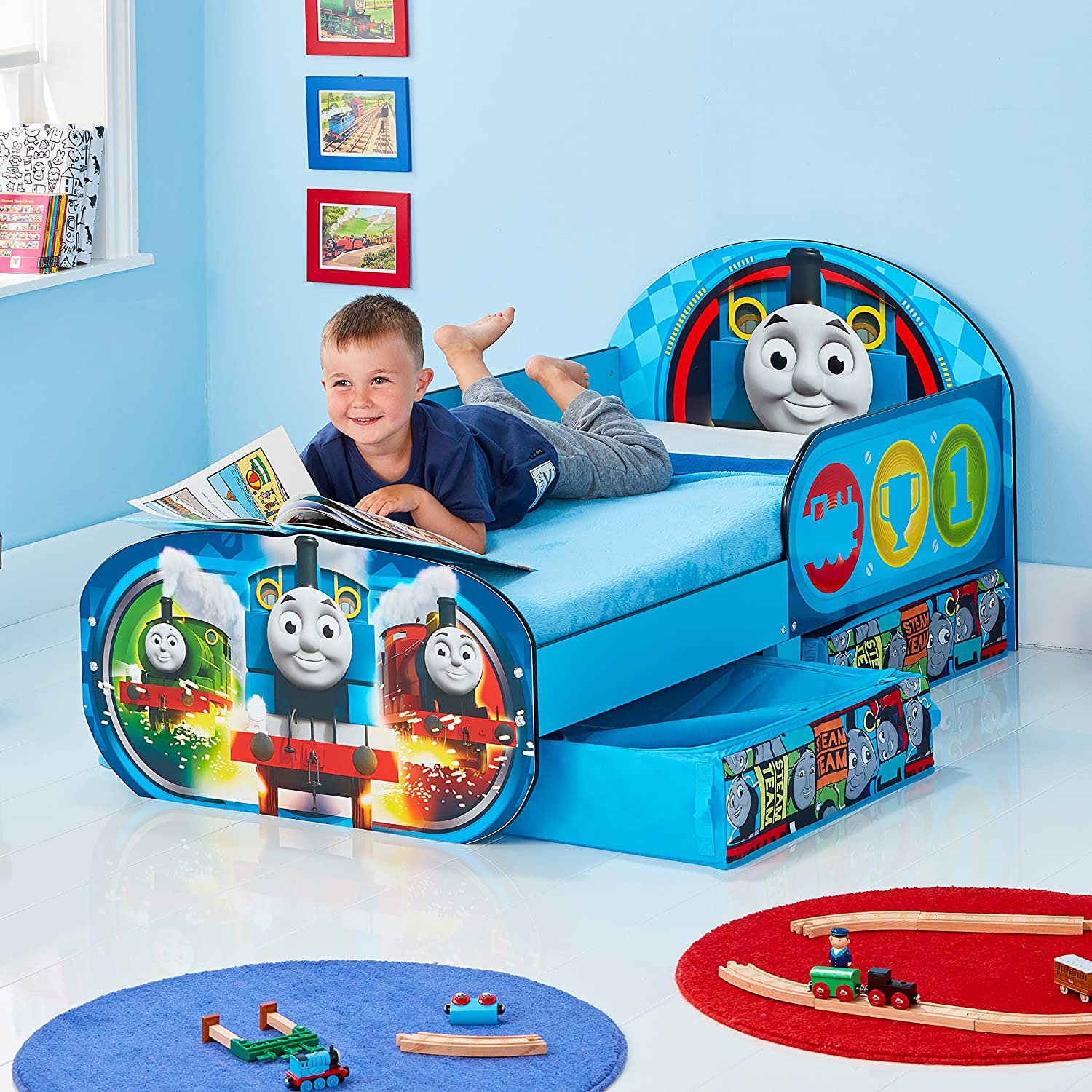 HelloHome Thomas /& Friends Toddler Bed with underbed Storage Wood Blue 142 x 77 x 63 cm