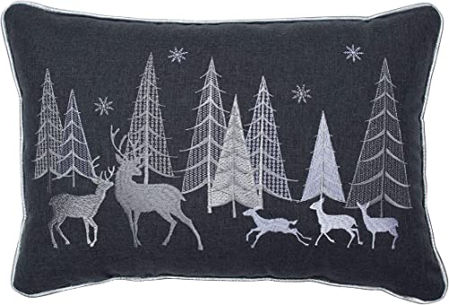 Pillow Perfect Christmas Forest Scene Embroidered with Silver Welt Cord Lumbar Decorative Pillow, 12 x 18 , Gray, White