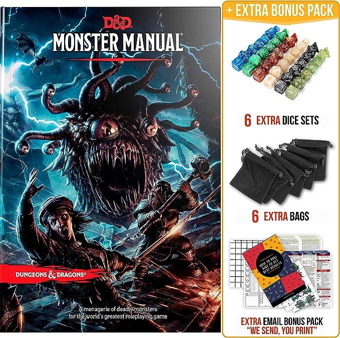 Monster Manual Dungeons and Dragons 5ta edición con dados DND y kit completo imprimible, libro de reglas D&D Core - D&D 5e Monster Manual Set de regalo - D&D Starter Set -