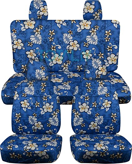 Surprising 2011 2018 Jeep Wrangler Jk Hawaiian Seat Covers Blue W Flowers Full Set Front Rear 4 Prints 2012 2013 2014 2015 2016 2017 2 Door 4 Door Machost Co Dining Chair Design Ideas Machostcouk