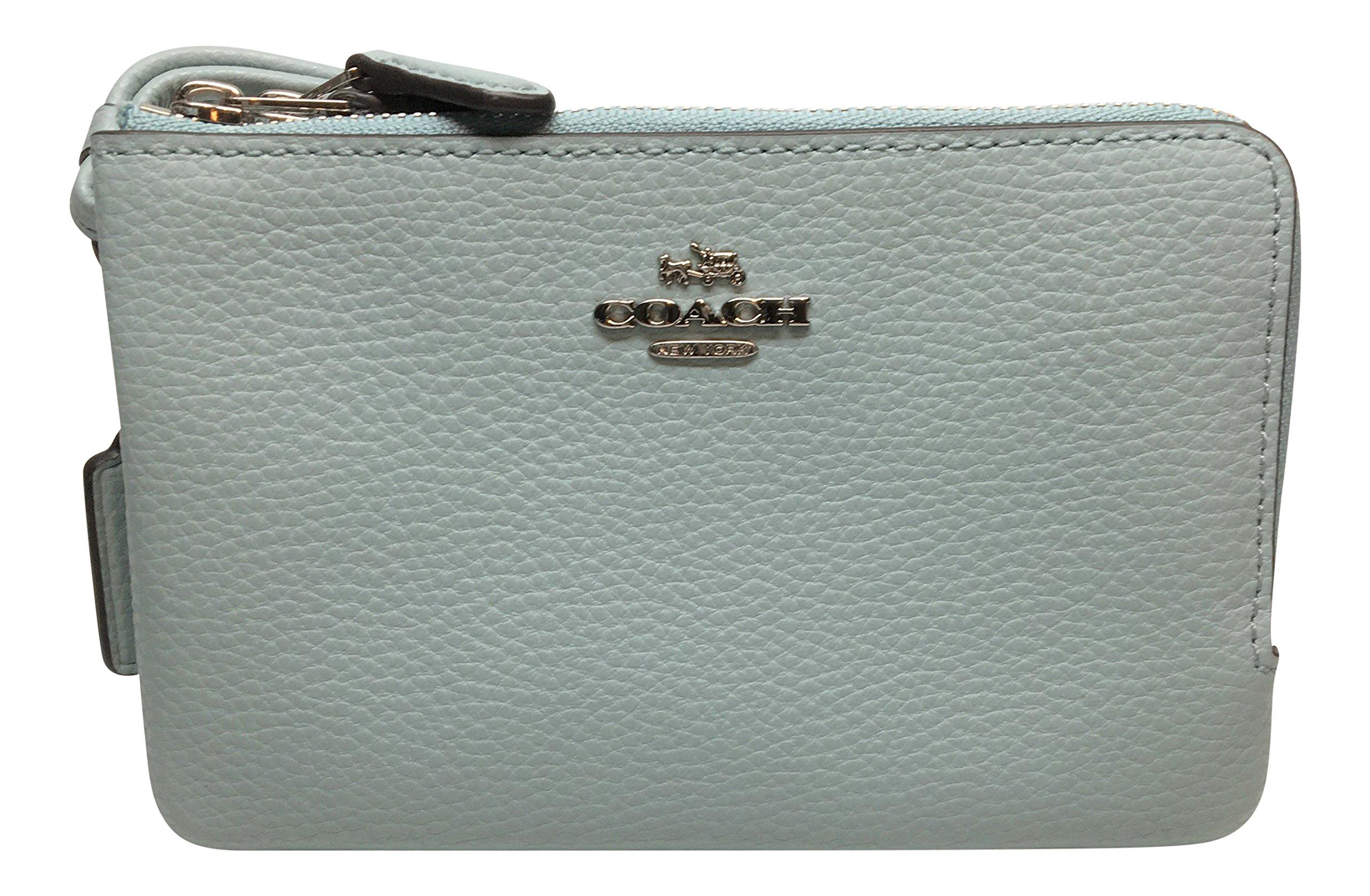 Coach Pebbled Leather Double Corner Zip Wristlet Wallet F87590 Aqua