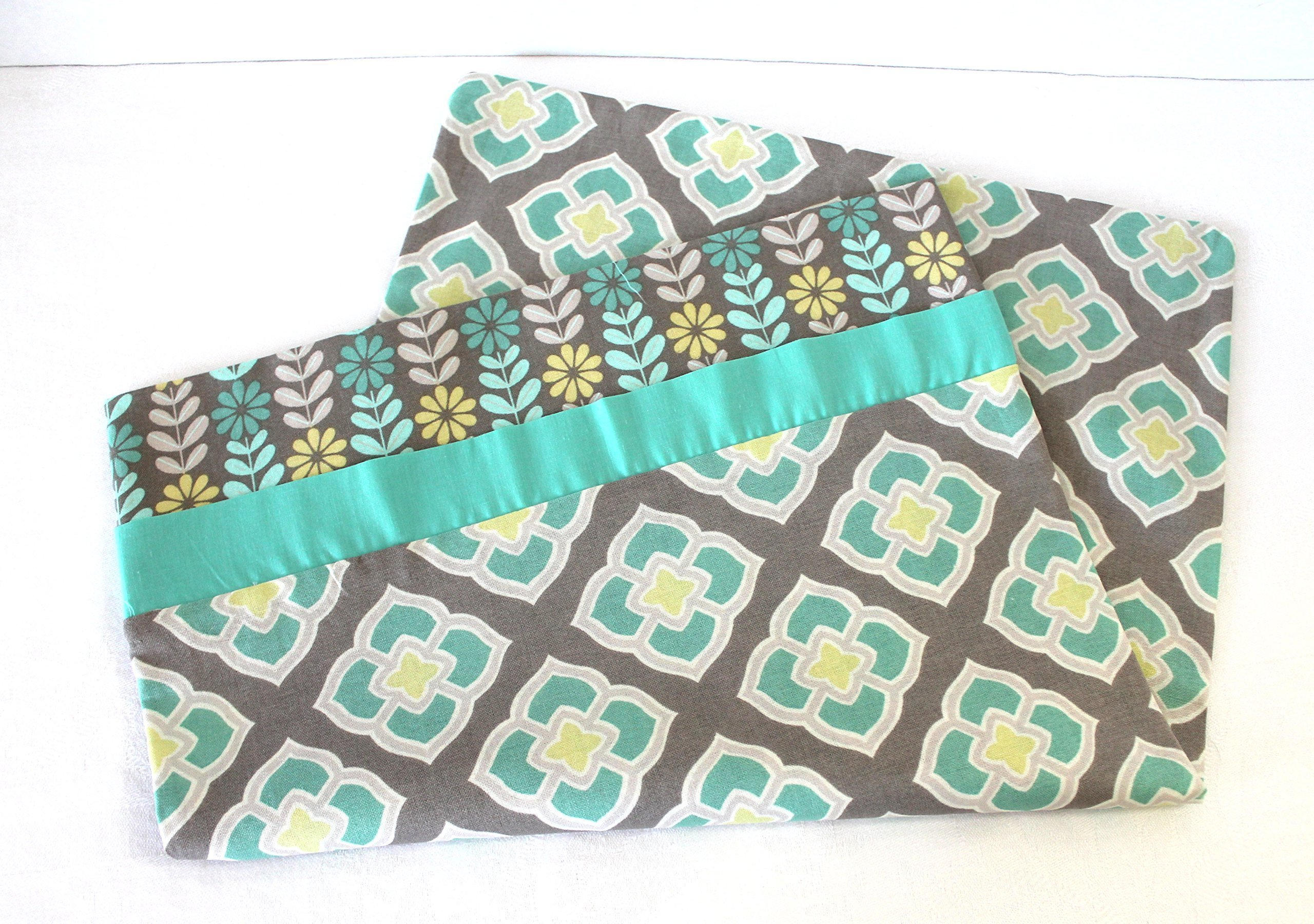 Toddler Pillowcase in Gray Aqua and Yellow Quatrefoil