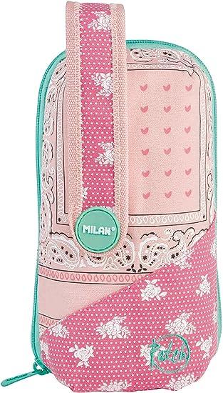 Estuche Escolar MILAN Patch Rosa, 4 Compartimentos: Amazon.es: Juguetes y juegos
