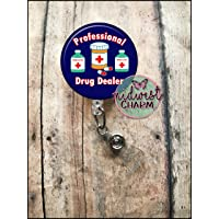 Professional drug dealer(Pharmacist) Navy color .Retractable badge holder, clip, Nurse, Personalized Pharmacist Christmas Gift