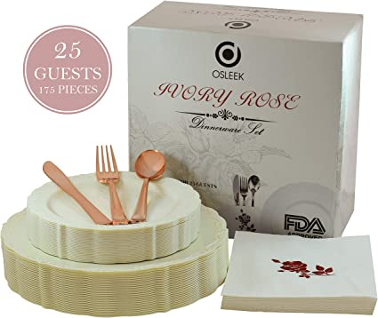 Disposable Plastic Dinnerware Set - 175 Piece / 25 Guest Ivory Plates, Rose Gold Cutlery, Elegant Heavy Duty Silverware - 25 Dinner Plates, 25 Dessert Plates, 25 Forks|Knives|Spoons|50 Design Napkins