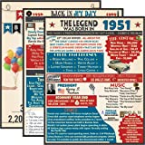 VAPARA DESIGNS 70th Birthday Decorations - 3 Pack of Fun, Artistic 11x14 Birthday Posters - 70th Birthday Gifts for Women -70