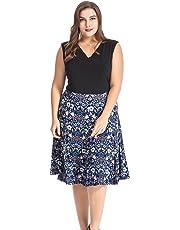 Chicwe Women's Plus Size Floral Print Skater Dress 1X-4X