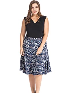 bb0b3ced9da Chicwe Women s Plus Size Floral Printed Skater Dress - Knee Length Casual  Party and Work Dress