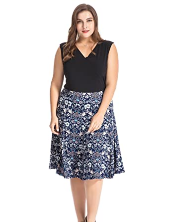 Chicwe Women\'s Plus Size Floral Printed Skater Dress - Knee Length Casual  Party and Work Dress