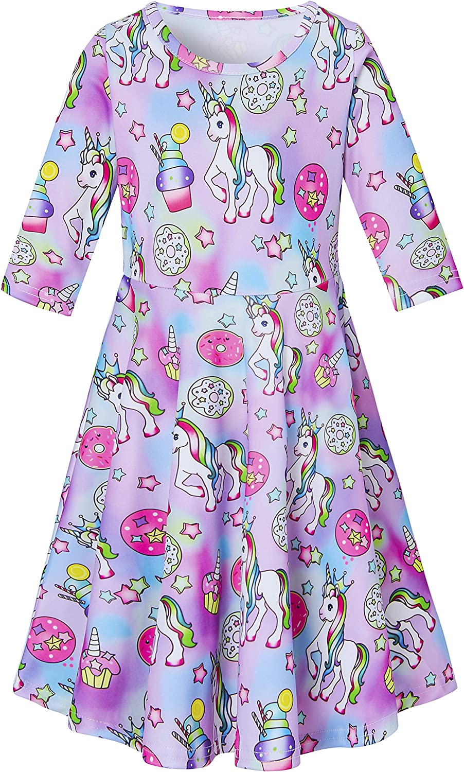 uideazone Girls 3/4 Sleeve Dresses Kids Casual Printed Twirly Skirt School Party Wear Attractive Daily Outfits 4-13 Year Old