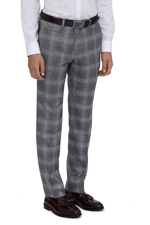 Moss London Men's Skinny Fit Grey Bold Prince Of Wales CheckSuit Pants