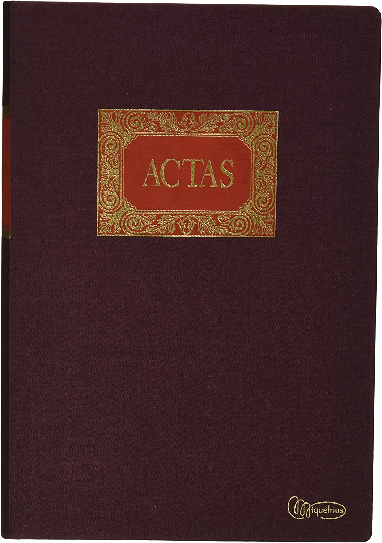 Miquelrius - Libro de Contabilidad, Folio Natural, Actas, 100 hojas, Forrado en tela y engomado