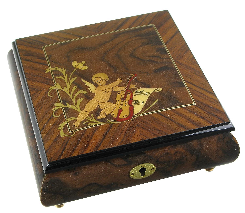 Boîte à bijoux musicale en bois avec marqueterie ange - Mistral gagnant (Renaud) Lutèce Créations
