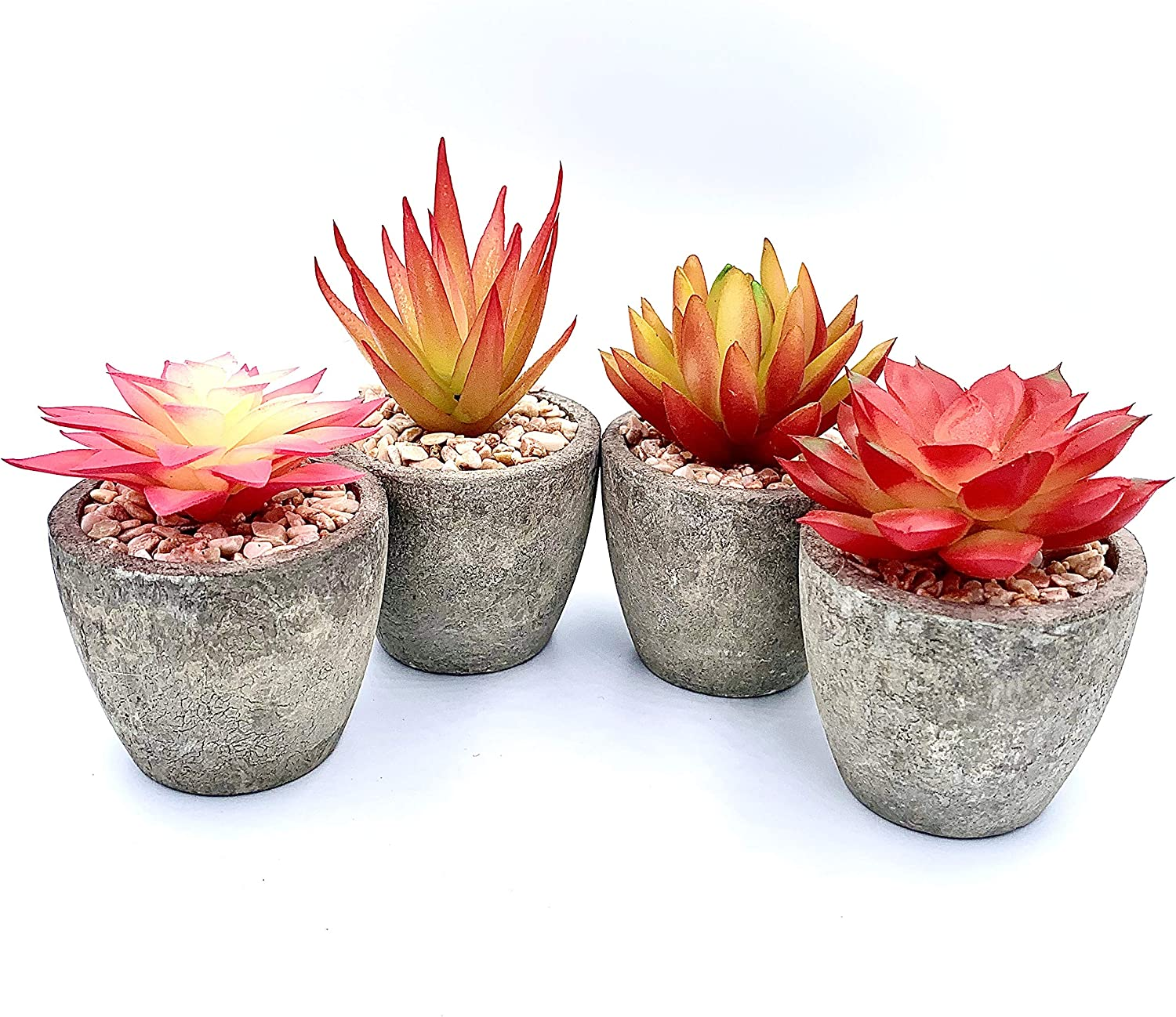 Artificial Succulent Plants by Lbee Home - Set of 4 | Tropical Colors, Faux Potted Mini Plants