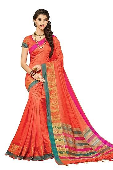 d6edfe79b7 Meghdoot Orange Colour Artificial Tussar Silk Saree (ST605_PEACH):  Amazon.in: Clothing & Accessories