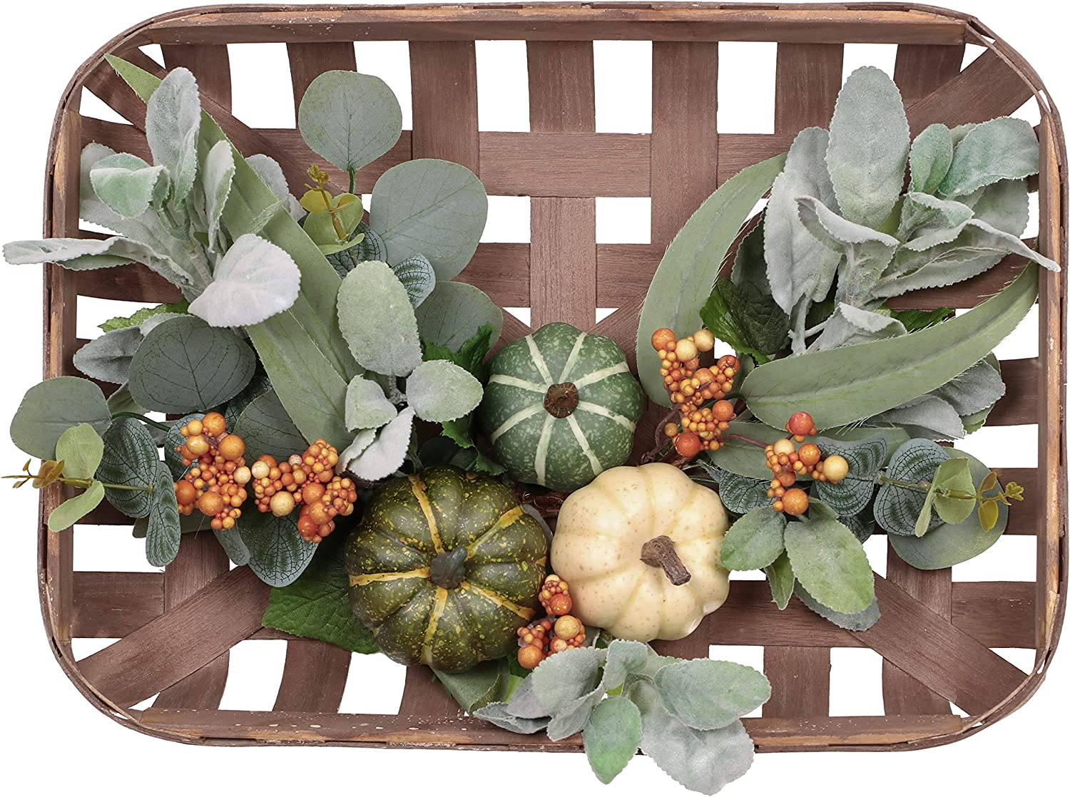 Valery Madelyn Fall Wreath with Basket for Home Decor, Thanksgiving Halloween Front Door Wreath, Tobacco Centerpieces with Pumpkin Eucalyptus Greenery Farmhouse Rustic Indoor Wall Christmas Decoration