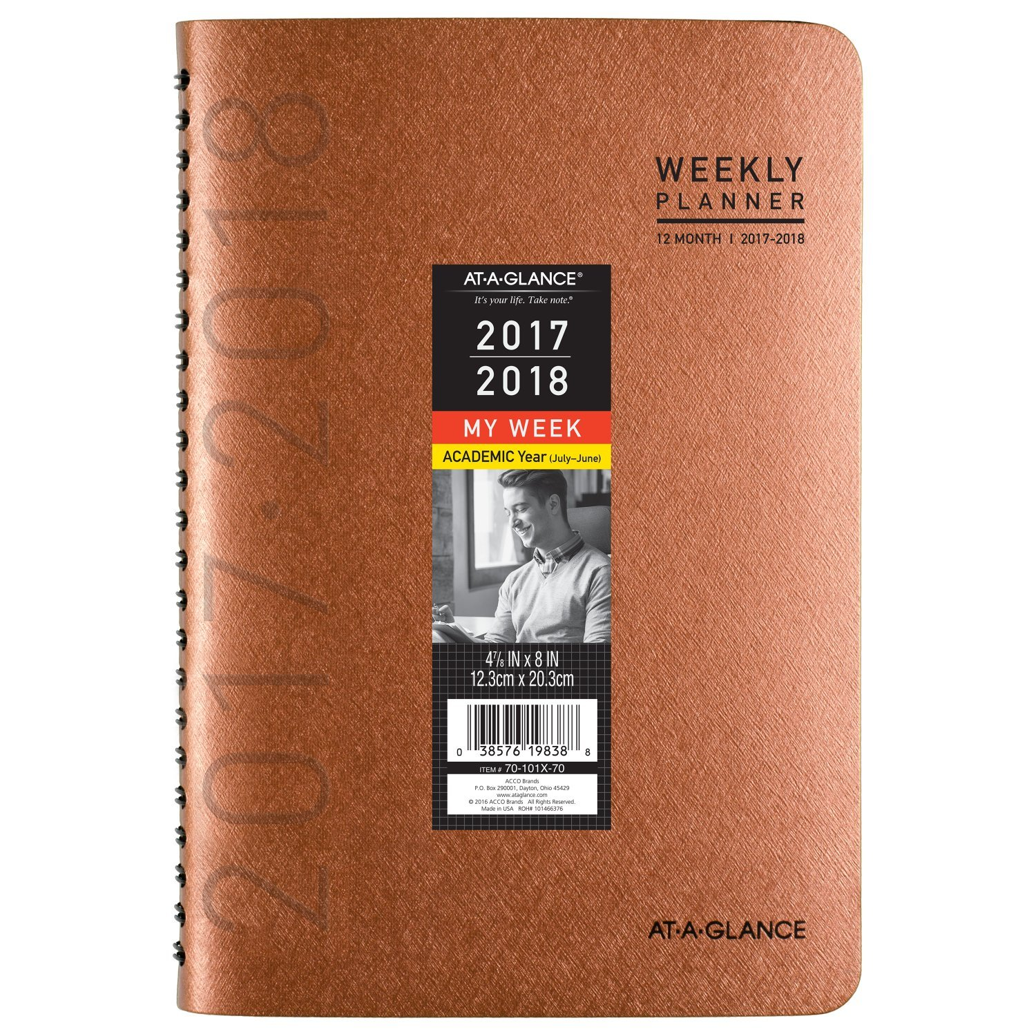 AT-A-GLANCE Academic Weekly / Monthly Planner, July 2017 - June 2018, 4-7/8