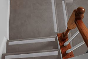 No-slip Strips - Non-Slip Nosing for Increased Safety On Carpeted Stairs, Gray-Croc Color, AGGRESSIVE Grit Traction for Indoor Carpeted Stairs, 25x2 Inches, 5 Strips