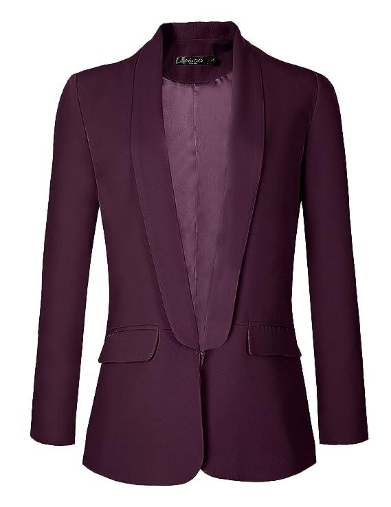 Urban GoCo Mujeres Blazers Chaqueta de Traje Slim Fit Elegante Oficina Negocios