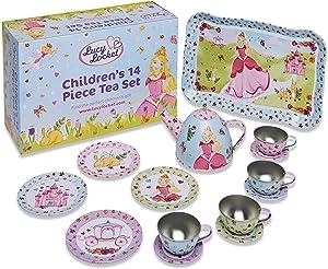 Lucy Locket - 'Princess' Metal Tea Set for Children - 14 pc Toy Tea Set for Kids